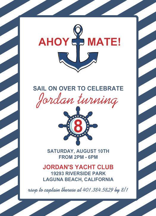 Nautical Blue Anchor Kids Birthday Invitation By Purpletrail Nautical Birthday Invitations Birthday Invitations Kids Kids Invitations