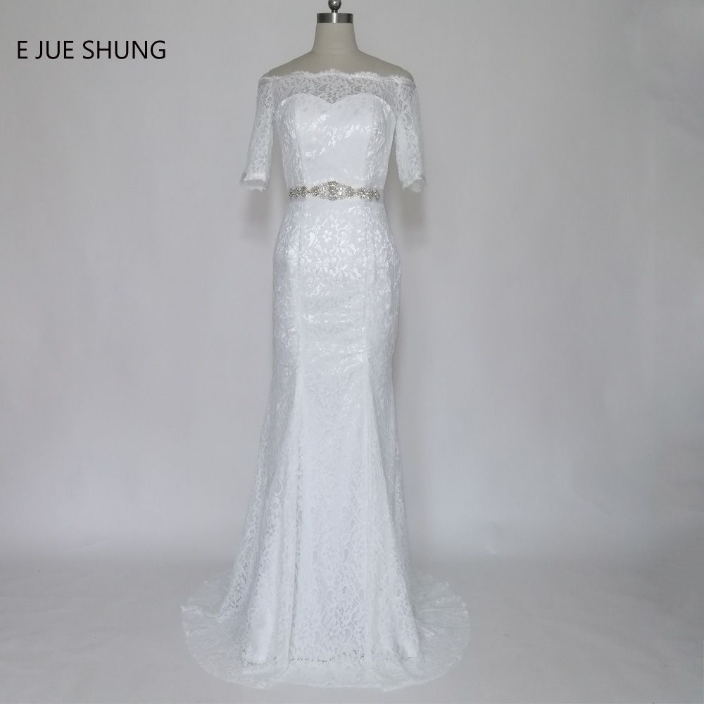 E JUE SHUNG White Vintage Lace Mermaid Wedding Dresses 2017 Crystals ...