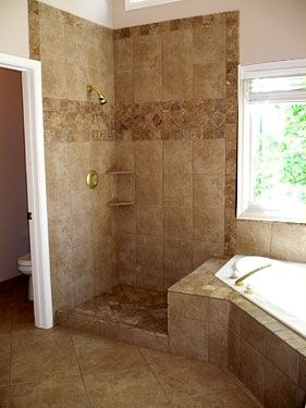 tile shower and tub combo. Corner tub with shower combo  could add another head and a glass door