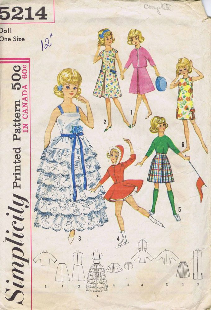 Vintage barbie fashion doll clothes sewing pattern 5214 ...