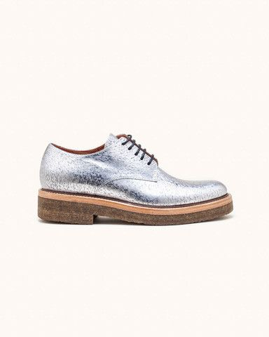 6d55e8260f QU354 Derby Shoe with Crepe Sole in Silver by Dries Van Noten ...