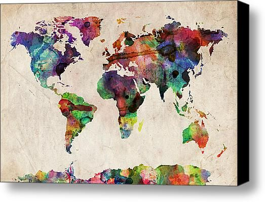 World map watercolor canvas print canvas art by michael tompsett world map watercolor canvas print canvas art by michael tompsett publicscrutiny Images