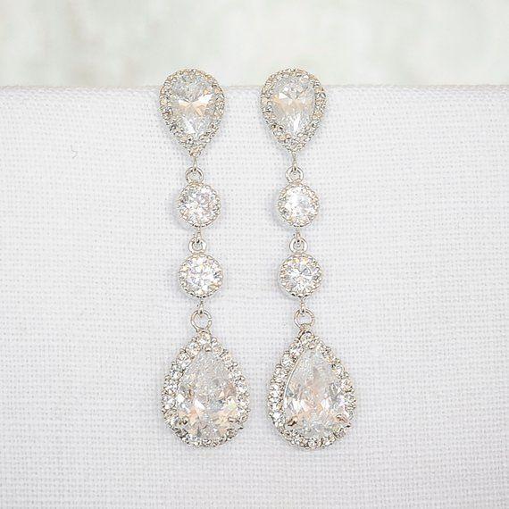 Wedding Earrings Bridal Crystal Teardrop Stud