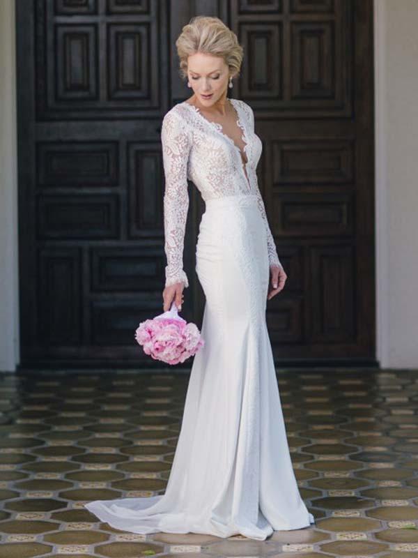 Long Sleeve Wedding Dresses V Neck Lace Simple Ivory Chiffon Mermaid