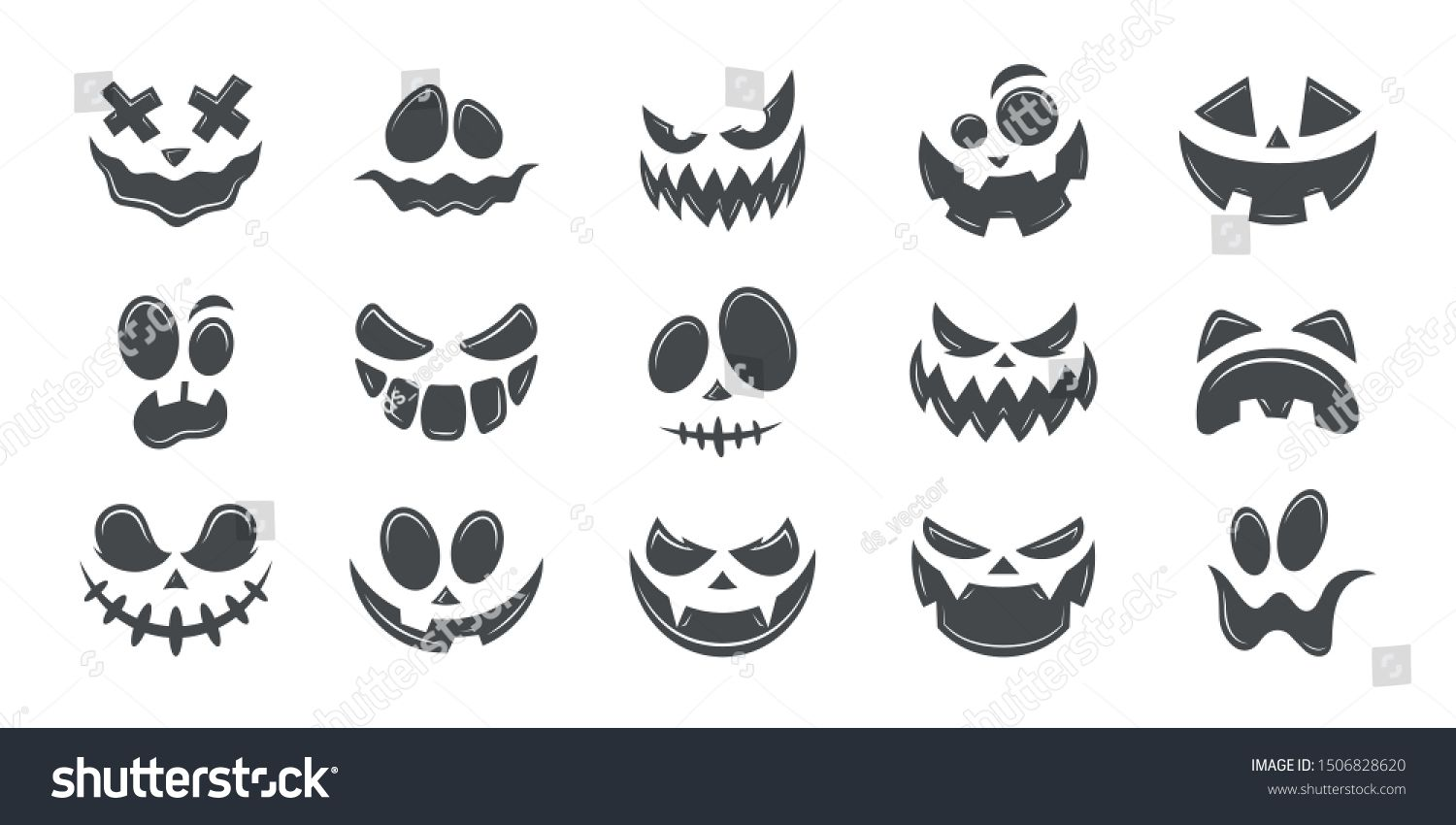 Scary and funny faces of Halloween pumpkin or ghost