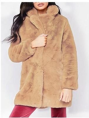 Womens Elegant Faux Mink Fur Hooded Mid Long Jacket winter Warm Coat Overcoat