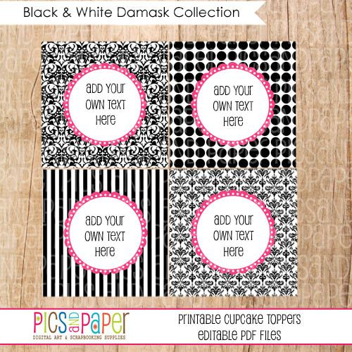 Free Editable Label Template Damask  Black And White Damask