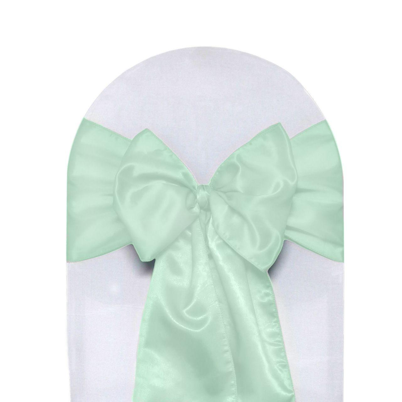 10 Pack Satin Sashes Mint Green Satin Sash Wedding Chair Sashes Chair Covers Wedding