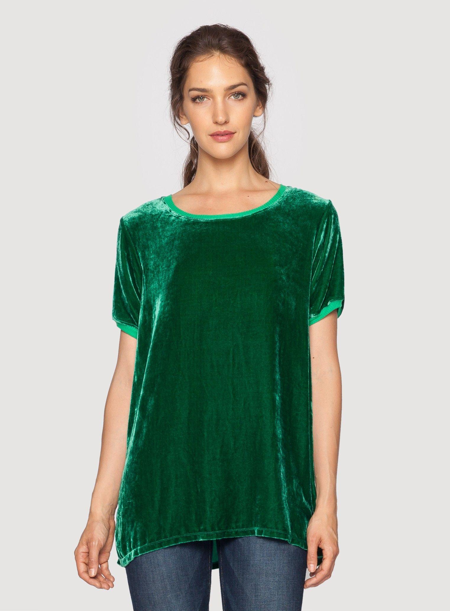 Johnny Was Clothing Pete and Greta Keisha Velvet T-Shirt in Green #johnnywas