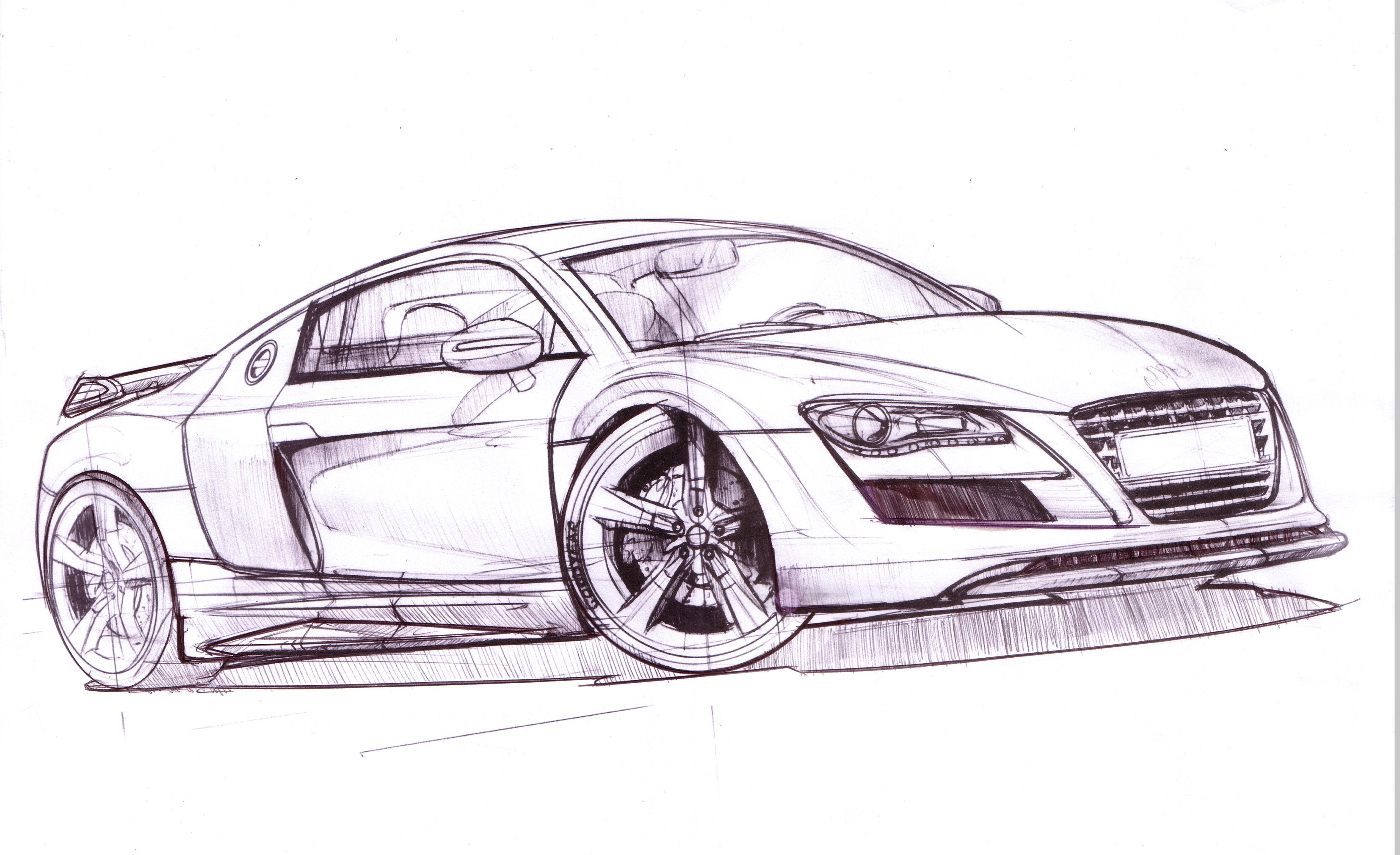 Ausmalbilder Autos Audi R8 : Cars By Mark Wells At Coroflot Com Transportation Sketches Models