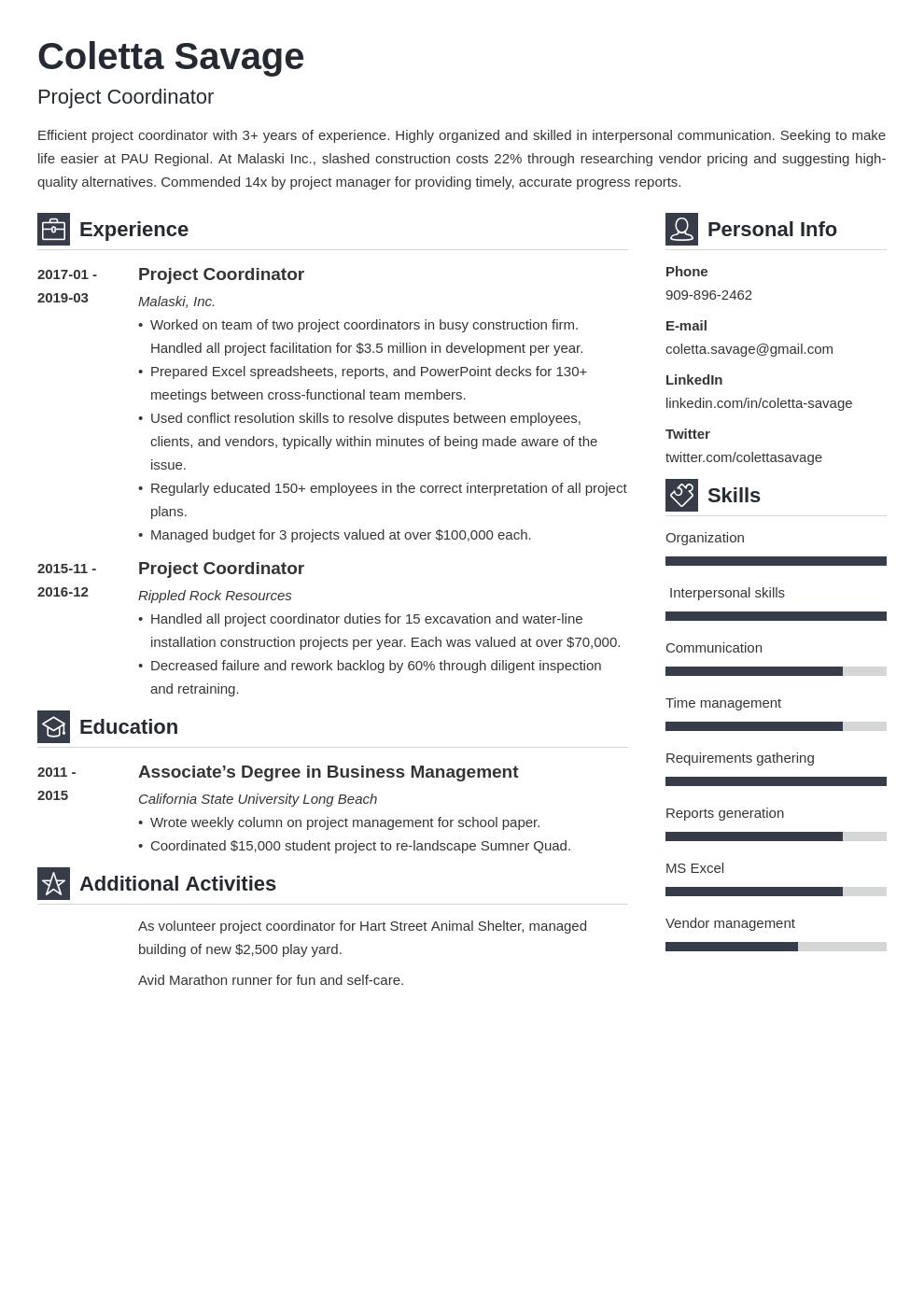 Project Coordinator Resume Example Template Vibes Resume Examples Job Resume Examples Resume
