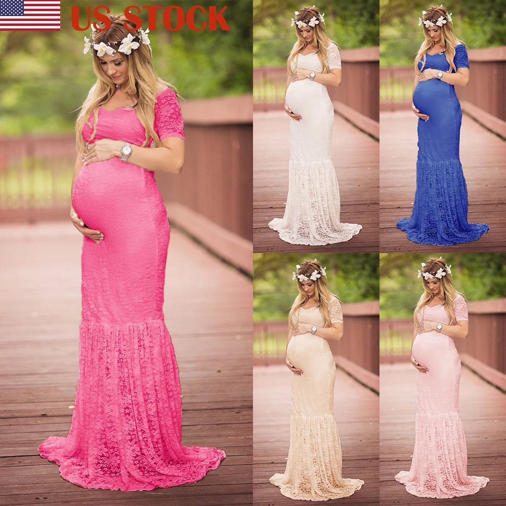 a89e6fc6659 US Women Lace Maternity Dress Maxi Fancy Long Gown Pregnancy Photography  Props  Unbranded  BallGownMaxiWrapLongMaternityDress  Casual