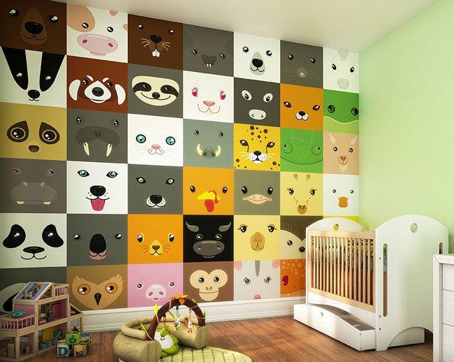 Animal Faces Photo Wallpaper Mural | Nursery Wall Mural | Wallpaper ...
