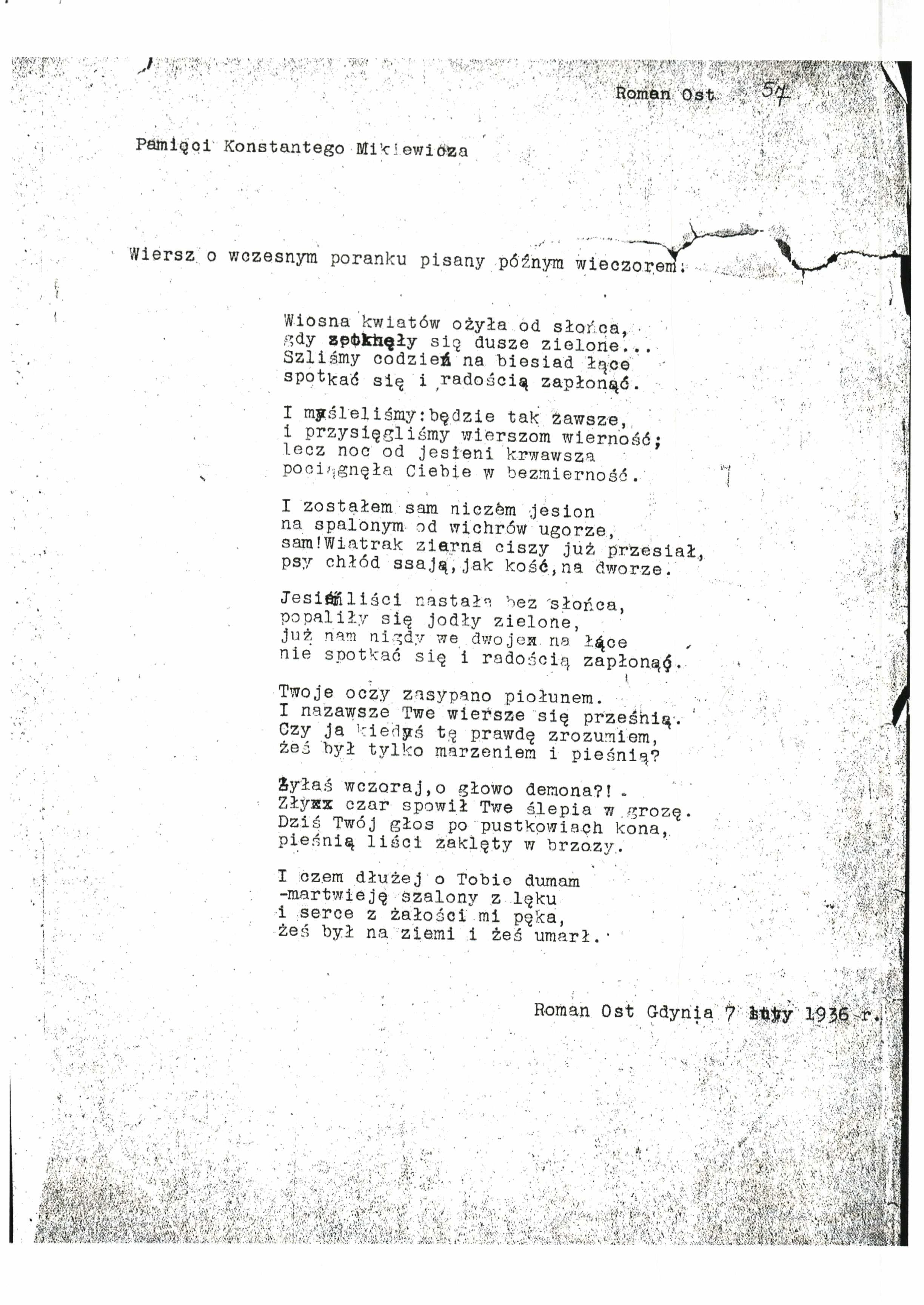 Wiersz Romana Osta Wysłany Kw Zawodzińskiemu Bn Rkps 7419