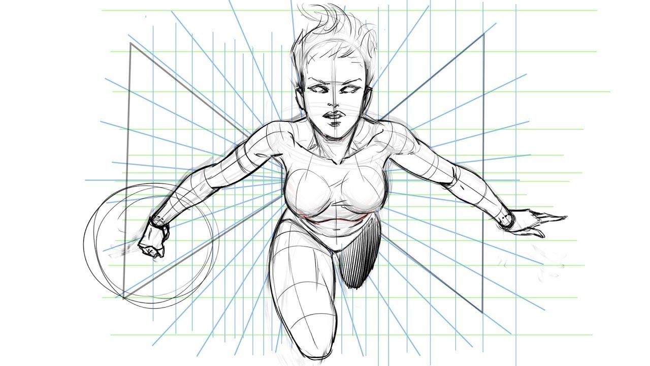 How To Draw A Dynamic Comic Book Pose Using A Perspective Grid Comic Book Art Illustration Comic Book Background Comic Book Drawing