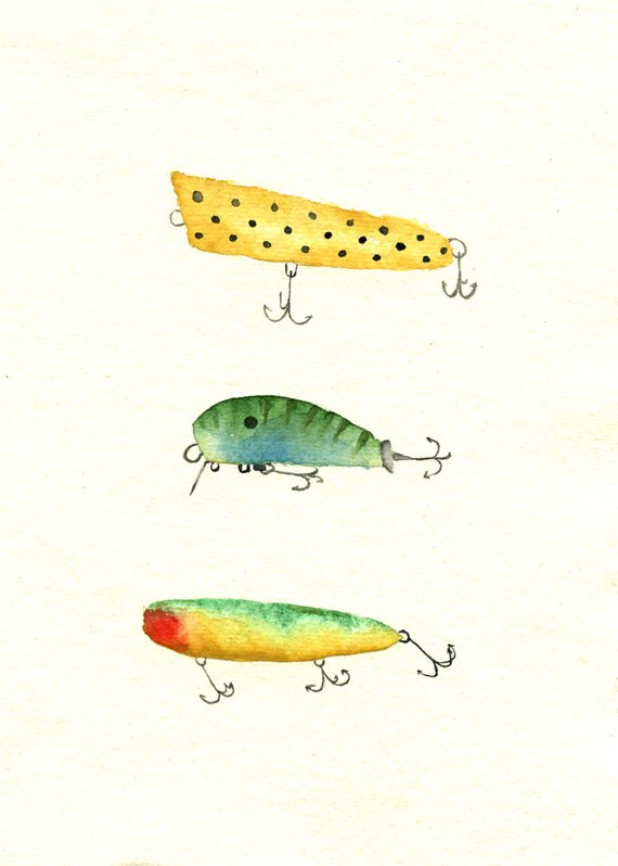 Watercolor Of Vintage Fishing Lures Print In 2020 Vintage