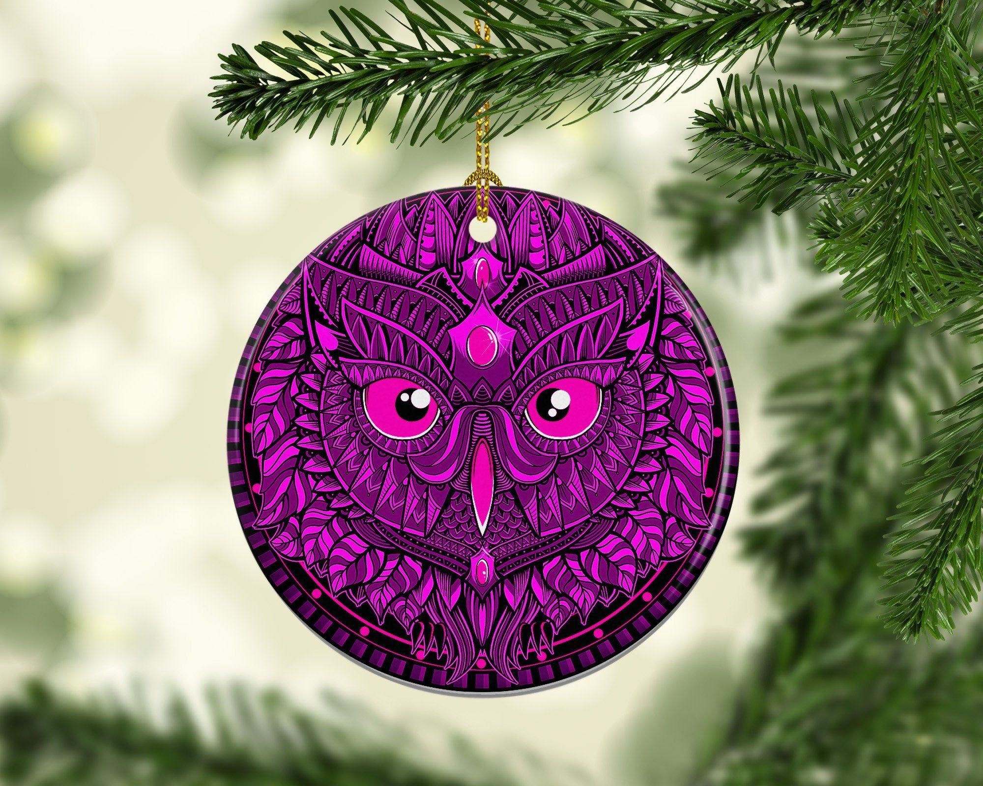 Porcelain Purple Owl Christmas Tree Ornament, Unique ...