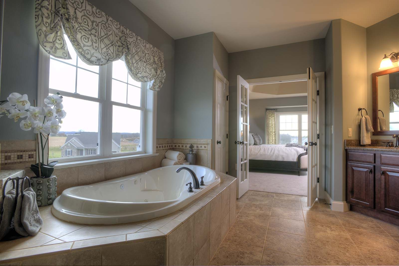 Master bathroom featuring sherwin williams 39 unusual gray for Master bathroom paint