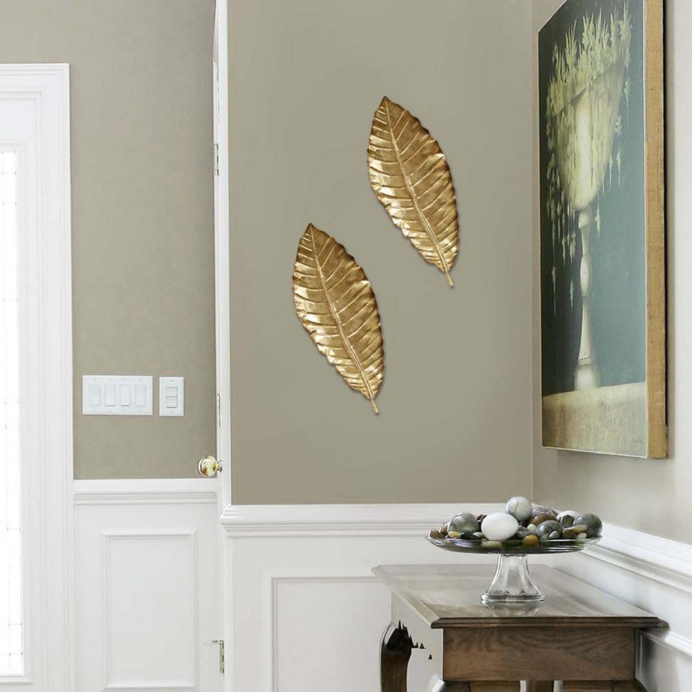 Stratton Home Decor Elegant Metal Leaf Wall Decor Shd0112 The Home Depot Metal Leaves Decor Wall Decor Stratton Home Decor