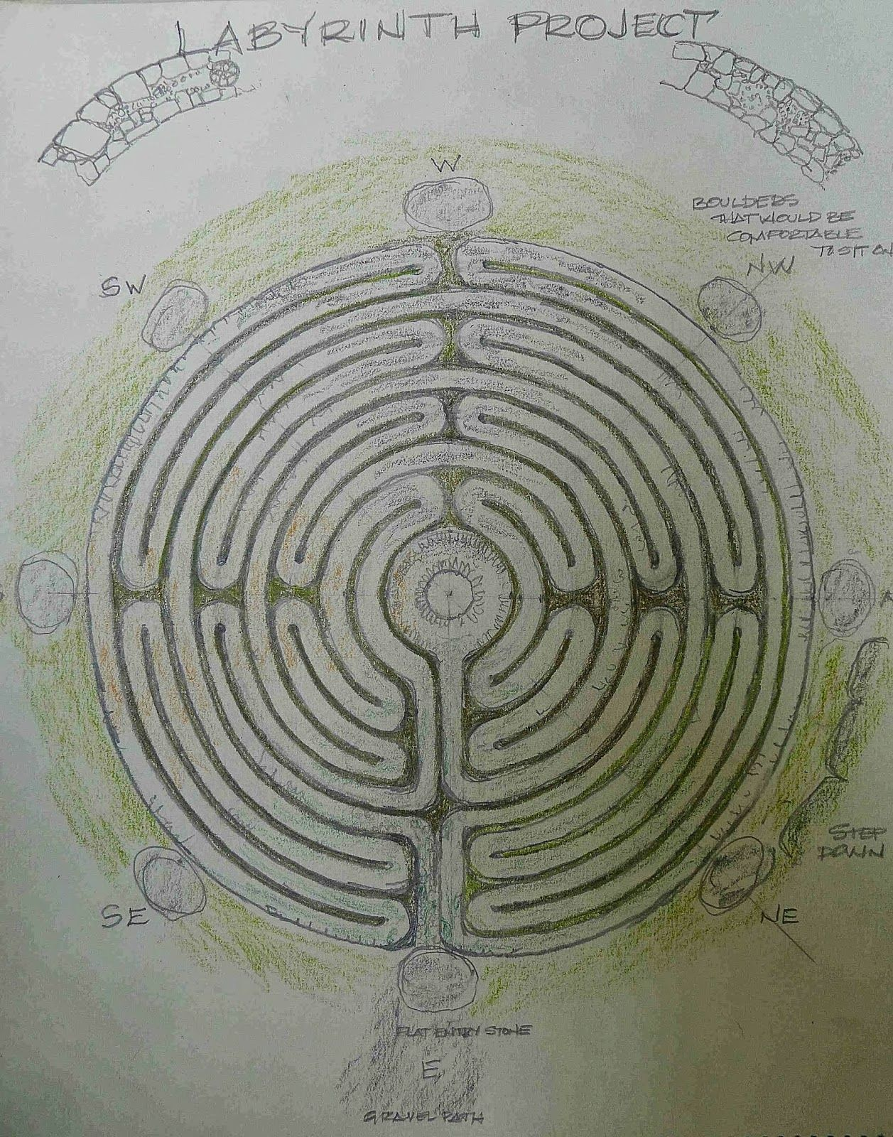 Setting Stone In The Outer Ring Of Labyrinth Project Is An Installation I Am Building Hall S Hill Lookout Park A