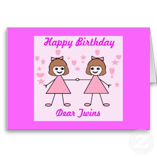 Girl Twins Happy Birthday Cards