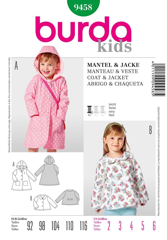 Burda 9458 Kids Jacket/coat too cute!   Sewing   Pinterest