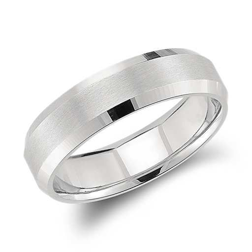 Beveled Edge Matte Wedding Ring In Platinum 6mm Mens Wedding