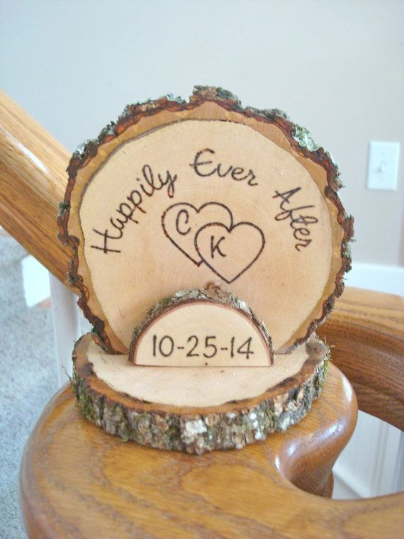 Cake Topper Personalized Rustic Wedding Romantic Country Wood Burned On Etsy 2800