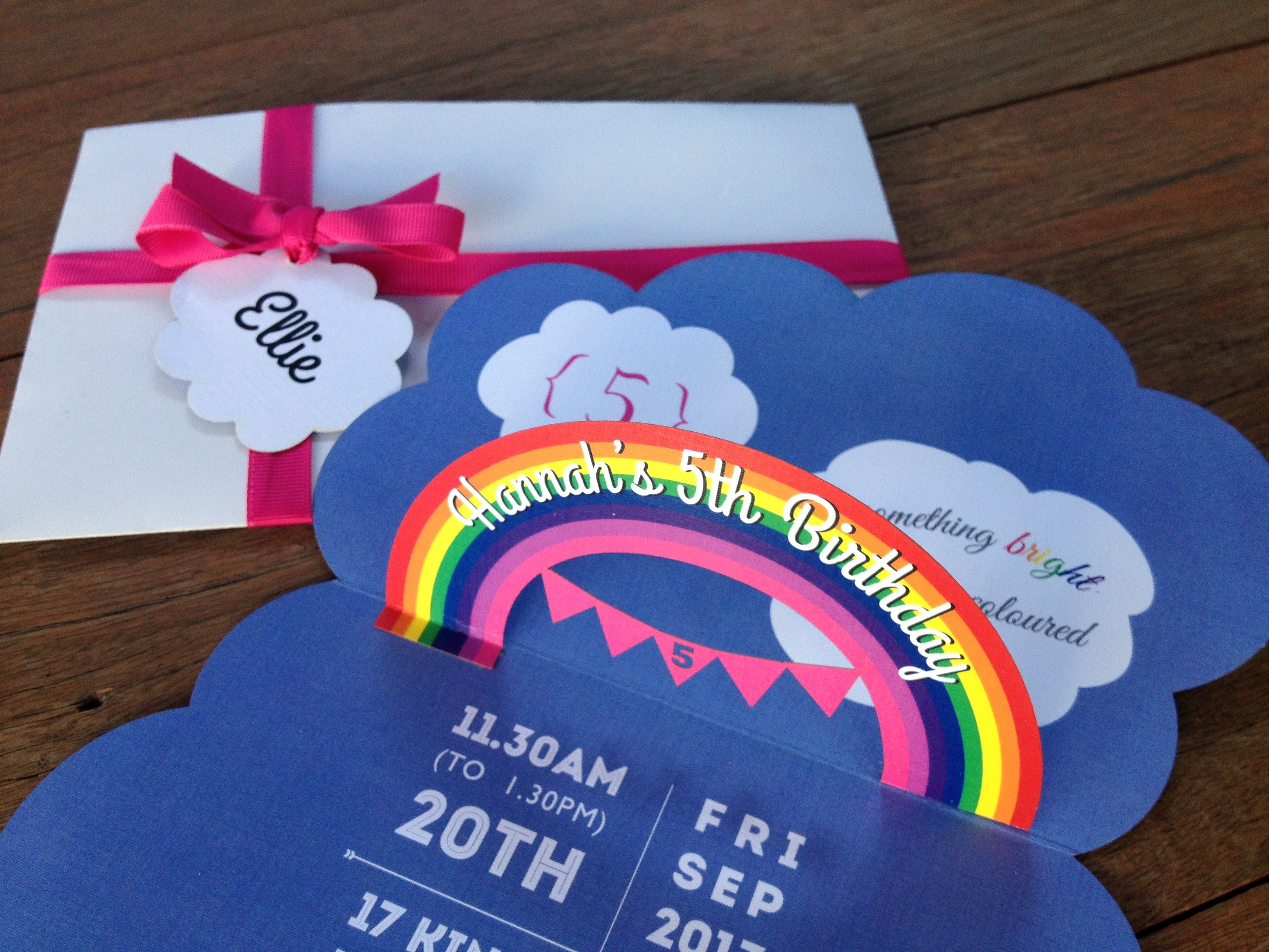 Pop-up rainbow invitations | 3D Pop up invitation | Pinterest ...