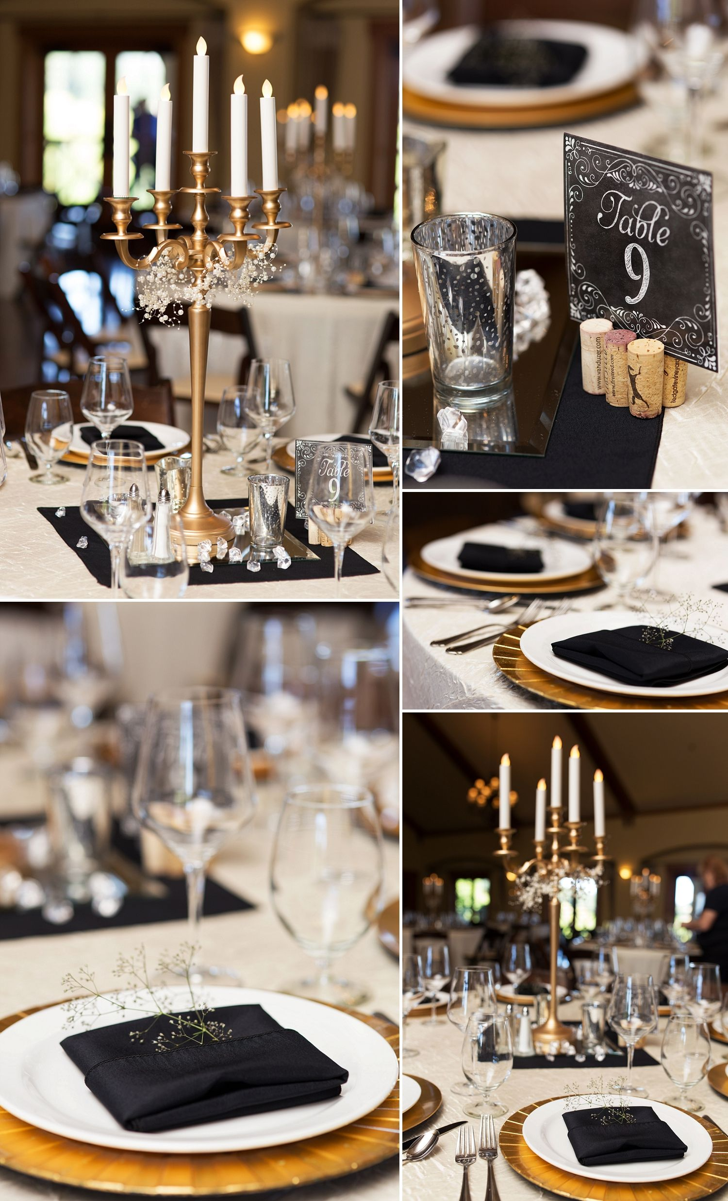 Black White Gold Elegant Table Decor For A Wedding Wedding