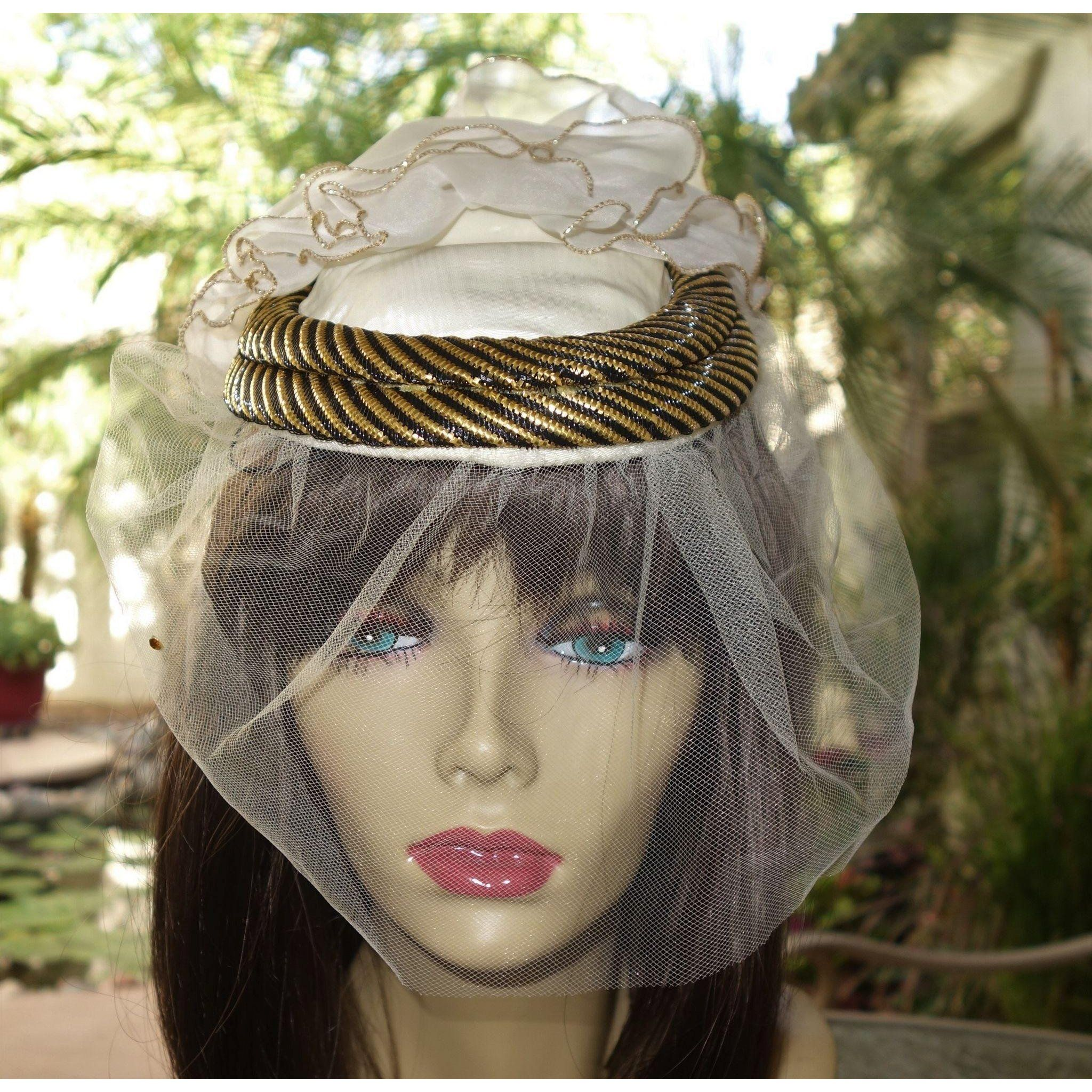 0a17d66b644a3 Vintage Sonni San Francisco White and Gold Cocktail Hat with Original Tags