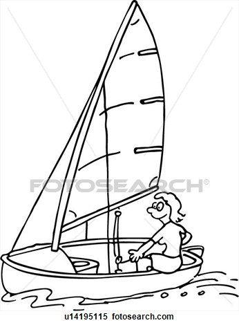 Gente, acción, barco, caricatura, caricaturas, vela, deporte, agua ...