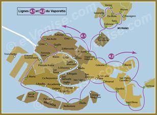 Plan Des Lignes De Vaporetto A Venise Venise Voyage A Venise