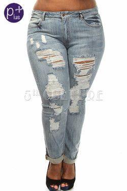 Plus Size Front Distressed Denim Jeans