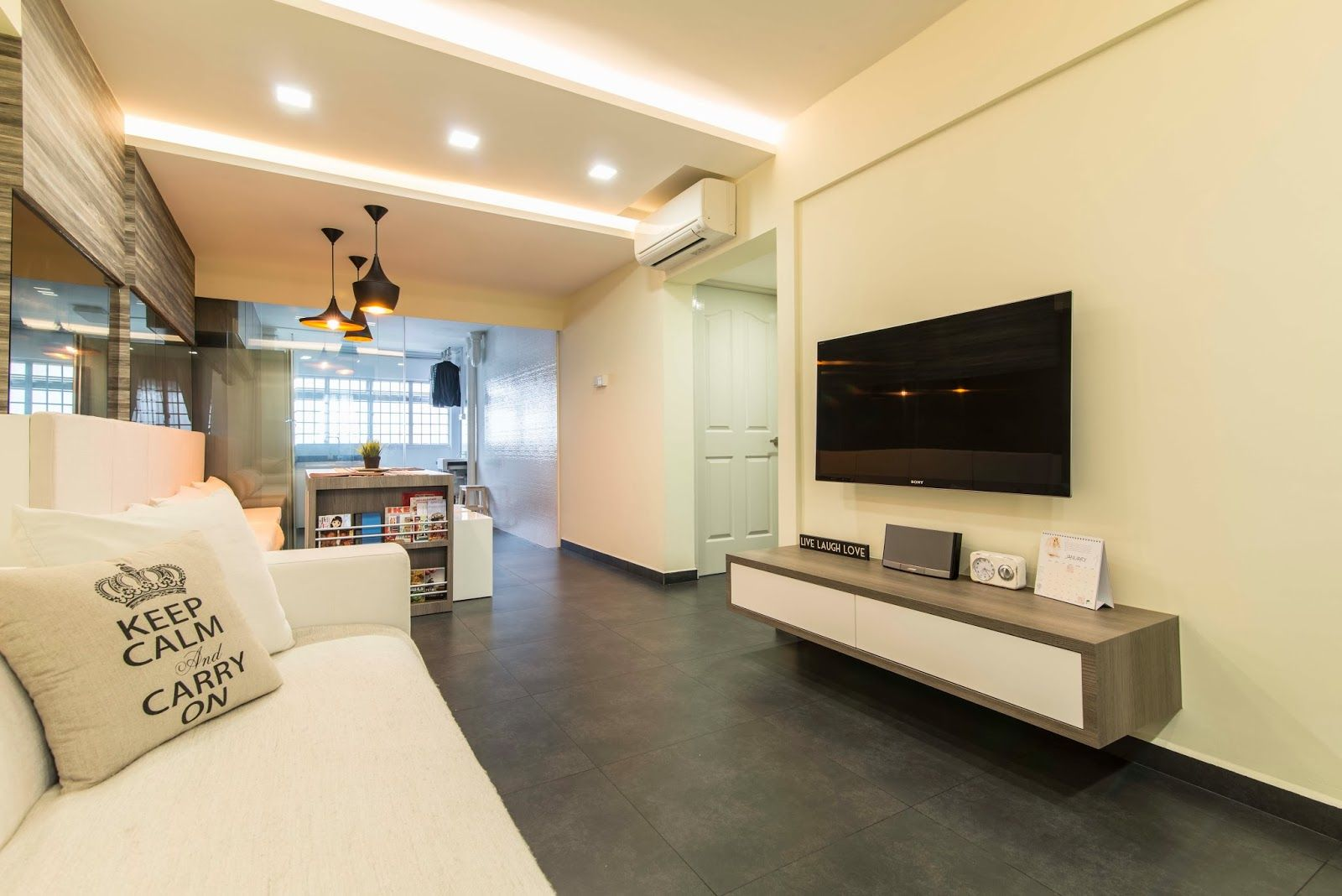 HDB 3 Rooms Modern Contemporary Design Living With Dark Grey Homogeneous Tiles Dining