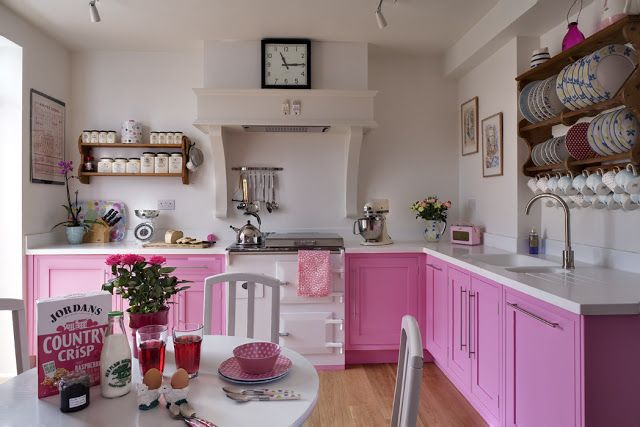 go for the pink kitchens with images pink kitchen cabinets kitchen design color pink on kitchen decor pink id=72955