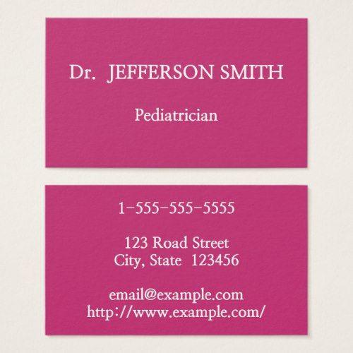 Basic And Elegant Pediatrician Business Card Dermatologist