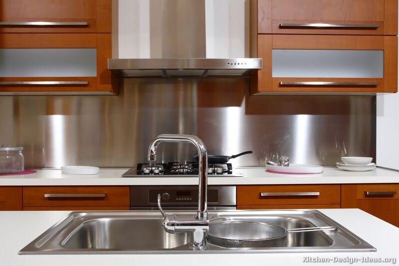 Pictures Of Kitchens Modern Medium Wood Kitchen Cabinets Metal Backsplash Kitchen Kitchen Backsplash