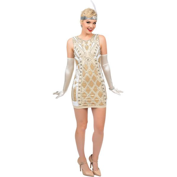 1920s Style Nude & Gold Sequin Beaded Deco Flapper Dress ($66 ...