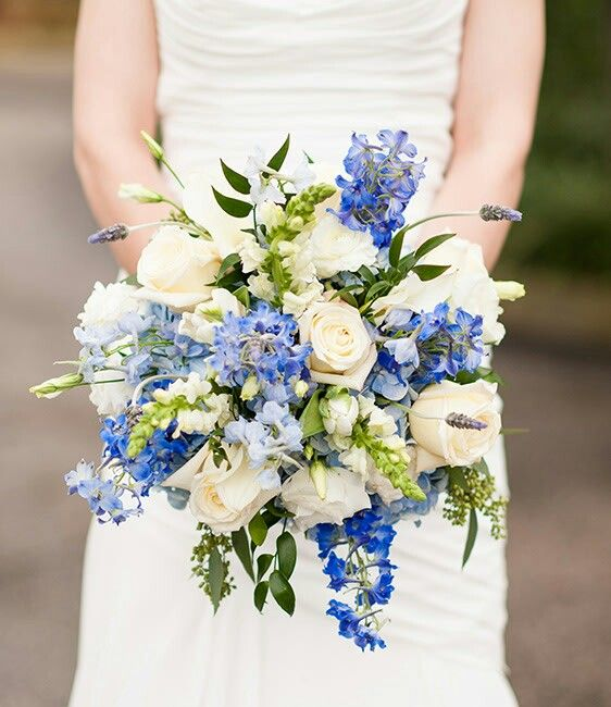 Cream roses white lisianthus white snapdragons blue for White and blue flower bouquet