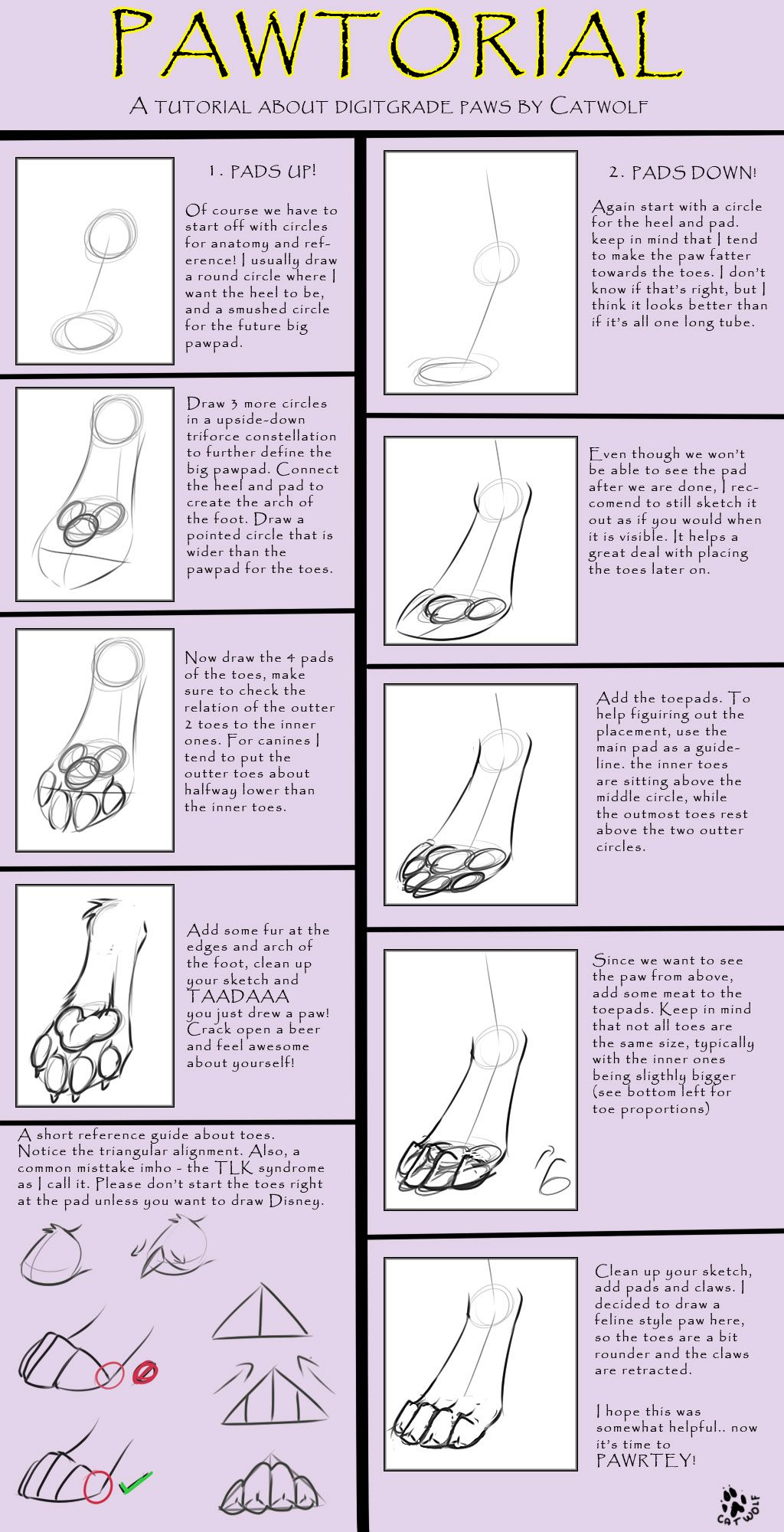 Digigrade Paw Tutorial [by Catwolf] by AAMP -- Fur Affinity [dot ...