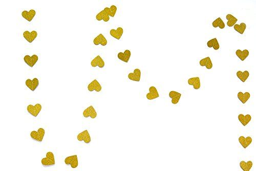 2B-better Glitter Paper Garland for Wedding, Baby Shower, Party Decorations, Light Gold (Star and Heart) (5M, Heart-shaped) >>> Review more details @