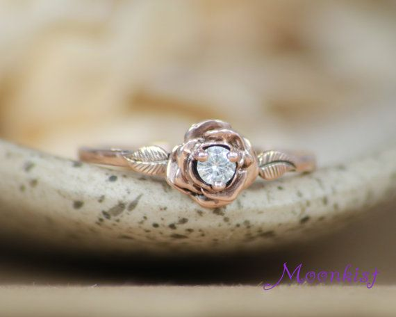Diamond Rose Ring in Rose Gold Floral Engagement Ring Rose Gold