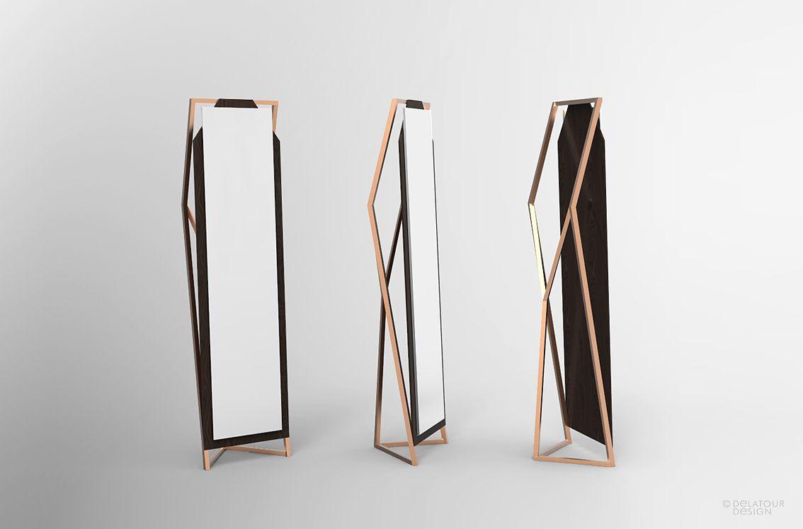 Miroir en pied. cuivre et bois by Jimmy Delatour. Standing mirror ...