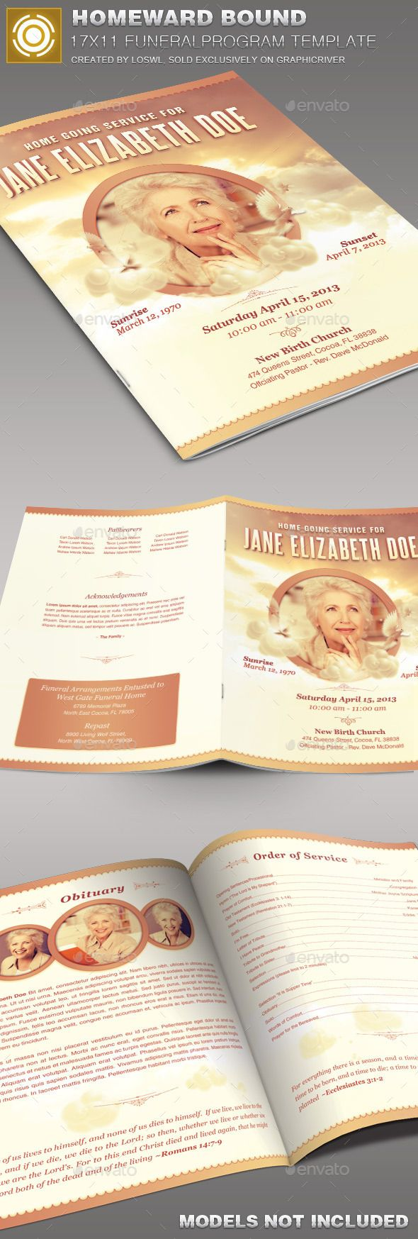 Homeward Bound Funeral Program Template   Brochures Template