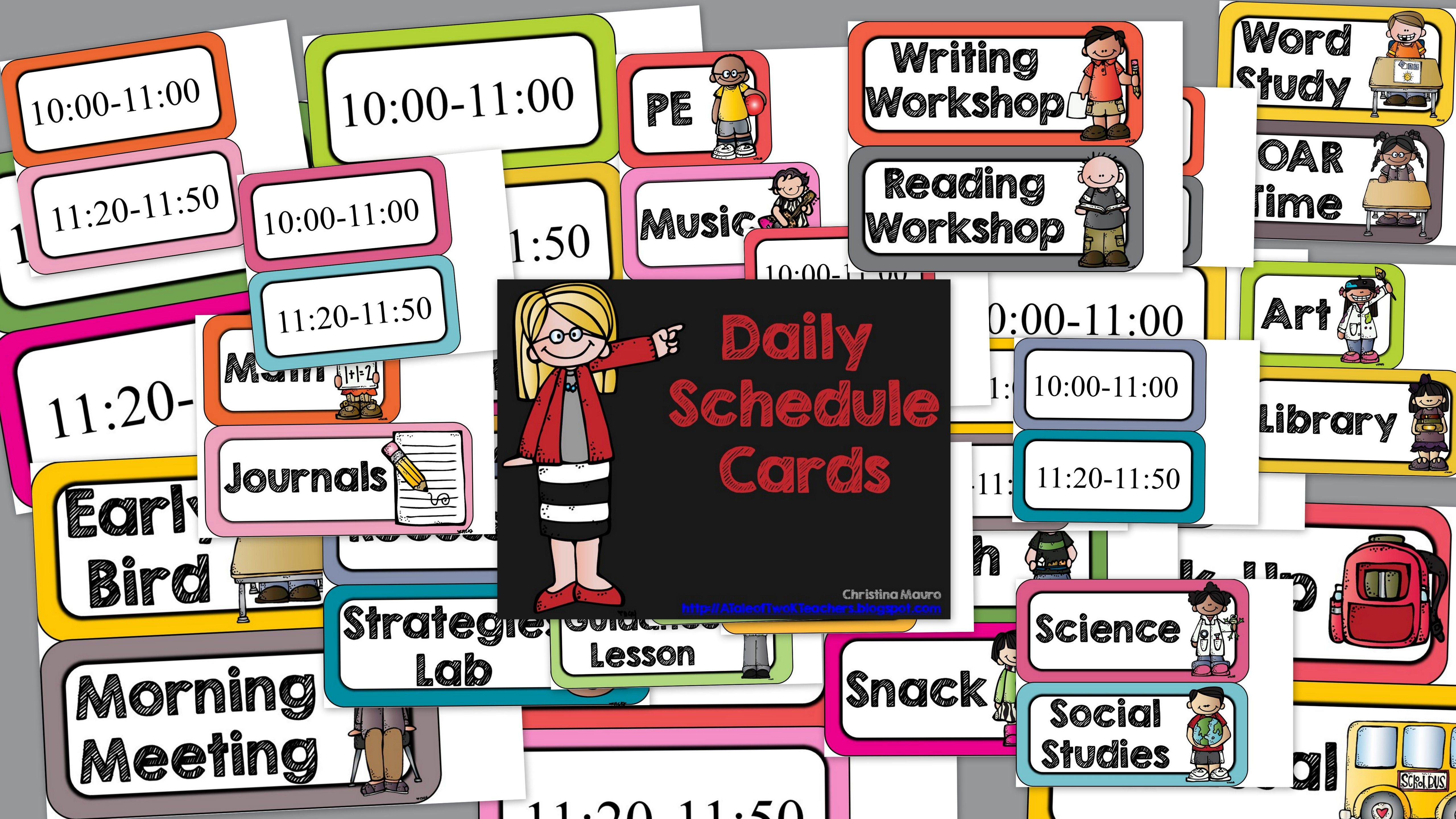 Daily Schedule Cards Editable Times