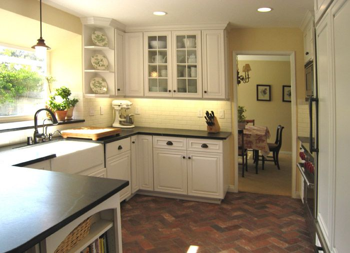 Best Red Brick With White Cabinets And Black Counter Kitchen 400 x 300