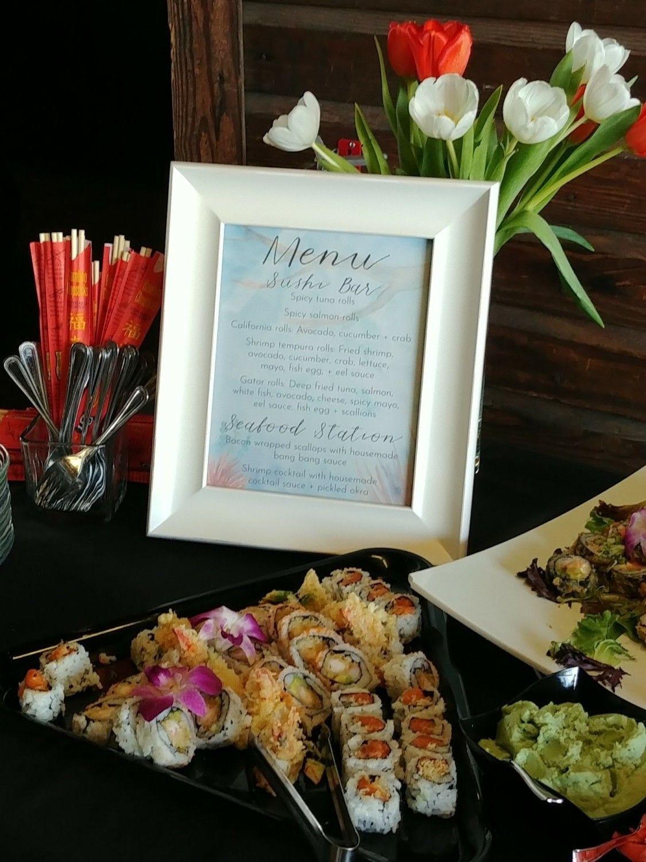 finger food ideas for bridal shower%0A Custom menu signs made by Mercer   Smith Events for Lauren   Zach u    s rustic  coastal wedding