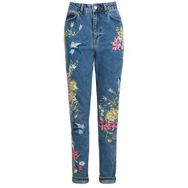 dfc8a8ed41 TopShop Petite Garden Embroidered Mom Jean ($84) ❤ liked on Polyvore  featuring jeans, pants, bottoms, trousers, topshop jeans, floral print jeans,  ...