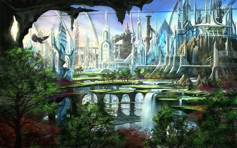 14899 futuristic garden 1920x1200 fantasy wallpaper for Architecture fantastique